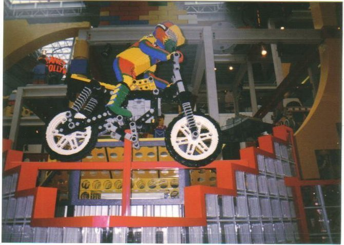 Dirt bike and rider made of Legos, Mall of America, Minneapolis, MN.
