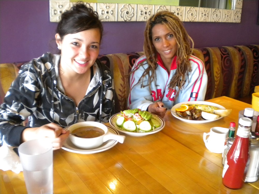 Karly (left), with veggie barley soup and house salad; Haili ordered the Anything Omelet (spinach, scallions, cheese, turkey bacon)
