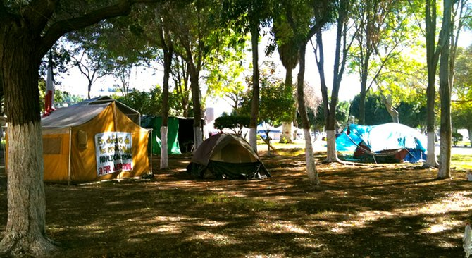 Preservationists' tents in Benito Juárez Park