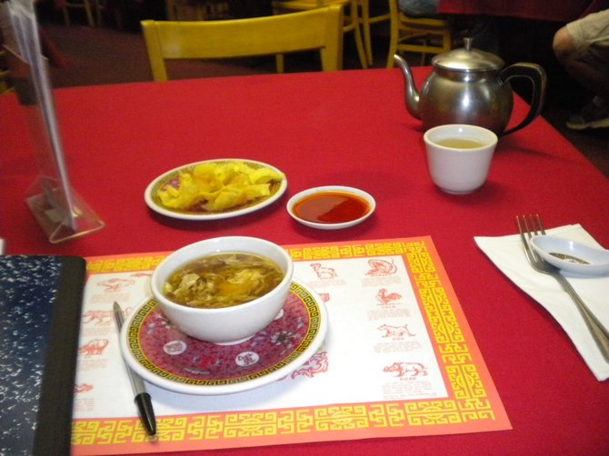 Hot and sour soup, part of the $7.99 dinner combination