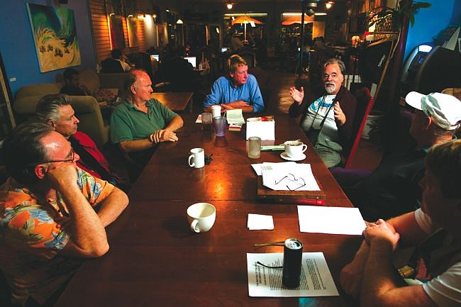 """Meeting of the Minds, moderated by Gary Grine, meets Wednesdays at Filter Coffee House. Grine formed this group when he decided that the Thursday discussion group he had founded became """"too political and too liberal."""""""
