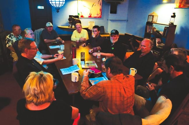 "Civilized Conversations, moderated by David Genser, has met on Thursdays at Filter Coffee House for seven years. ""The main focus of the group,"" Genser says, ""is learning by talking."""
