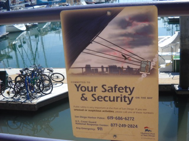 Port District safety sign along San Diego Bay.