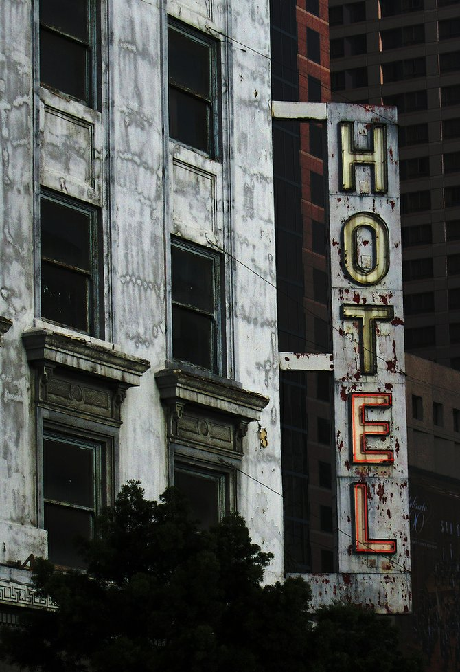 Hotel Churchill sign with added decrepitude.