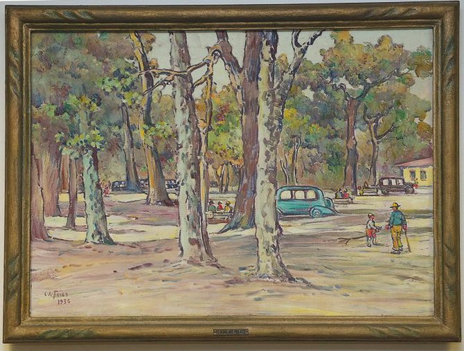 Publically owned, The Picnic Grove, by Depression-era artist Charles A. Fries, used to hang in the downtown library. It now hangs in city offices.