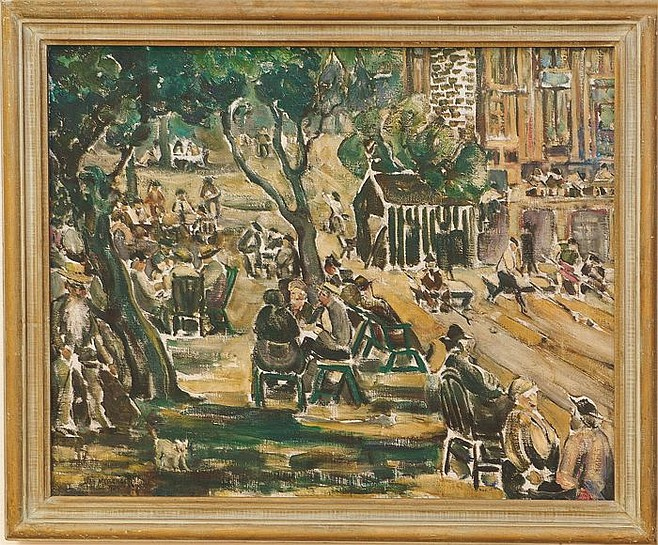 Senior Citizens, by Depression-era artist Ivan Messenger, used to hang in the downtown library. The publically owned art now hangs in city offices.