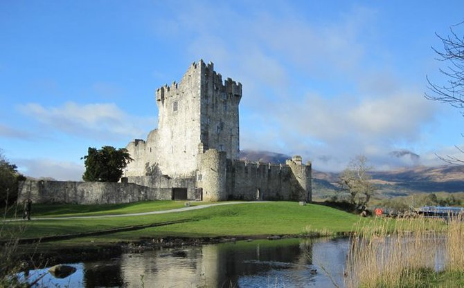 View of Ross Castle on a clear morning.  Killarney, Ireland