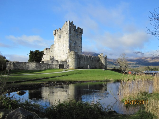 View of Ross Castle on a clear morning.