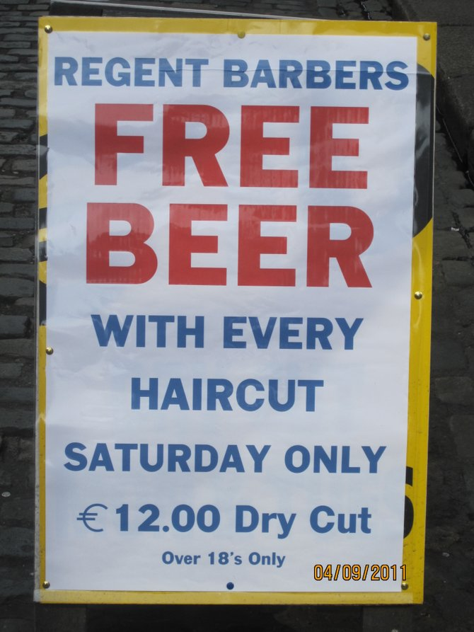 Gotta love the Irish... and their love of beer!  (Picture taken in the Temple Bar area.)