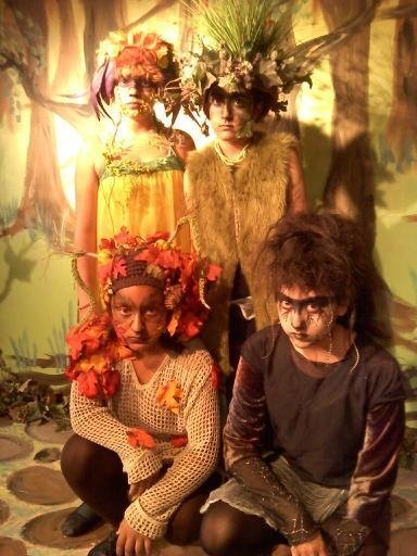 Students dressed up as woodland faeries inside Escondido's Patio Playhouse Youtheater.