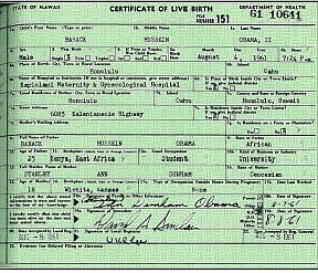 The long-form birth certificate released by the government