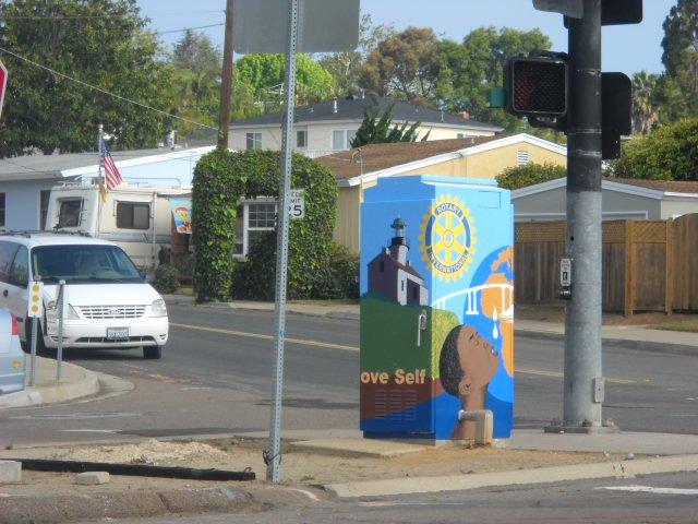 Utility box art at corner of Catalina Blvd. and Talbot.