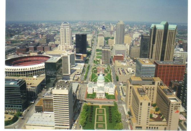 View of downtown St. Louis, MO, from the Gateway Arch.