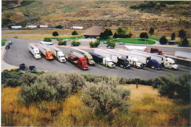 Trucks in a rest area in Echo Canyon, UT.