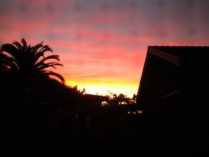 Sun setting over Chula Vista backyard.