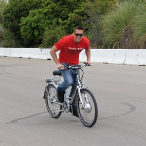 Nate going for Ezee Bike land speed record.