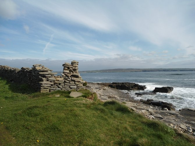 Seaside stone wall in County Clare, Ireland