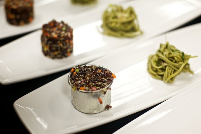 Two-thirds of Asian trio: black quinoa salad, green-tea soba noodles