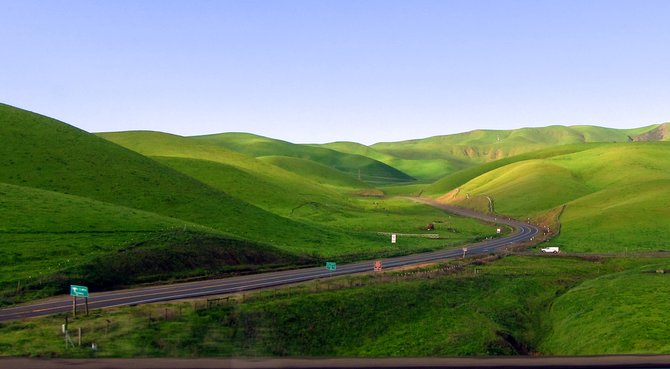 Beautiful, rolling meadows along the highway in Livermore, CA