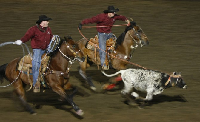 The team roping competiion at the Ramona Rodeo.