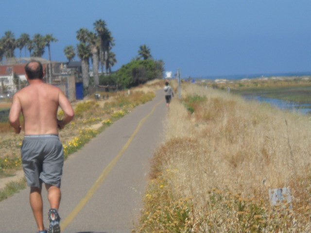 Getting a workout along OB Bike Path.