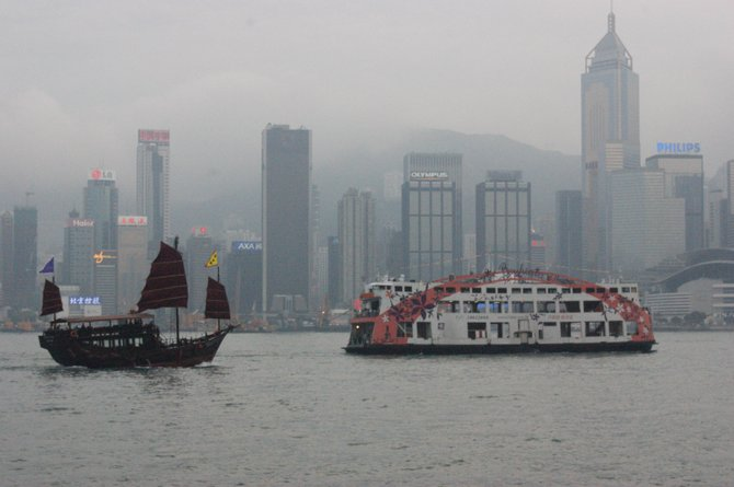 Boats in Hong Kong harbor