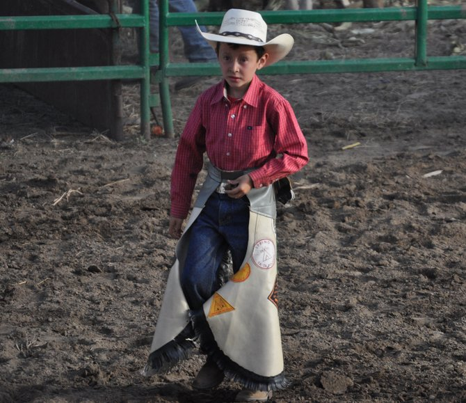 Cowboy Pee Wee Morino Getting ready to ride a baby bull La Mision Feista Rodeo.