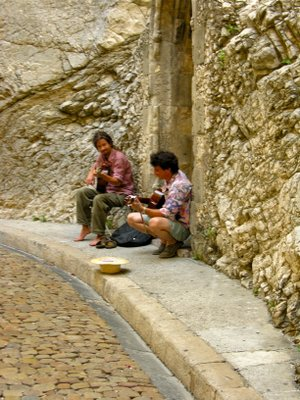 The music-filled cobblestone streets of Avignon.