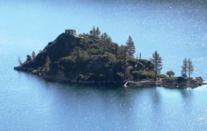 Fannette Island in Lake Tahoe, site of Knight's tea house