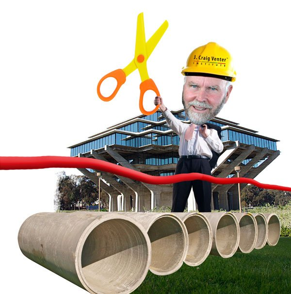 When Craig Venter went to break ground at UCSD, he discovered a storm sewer. UCSD officials don't want to talk about it.