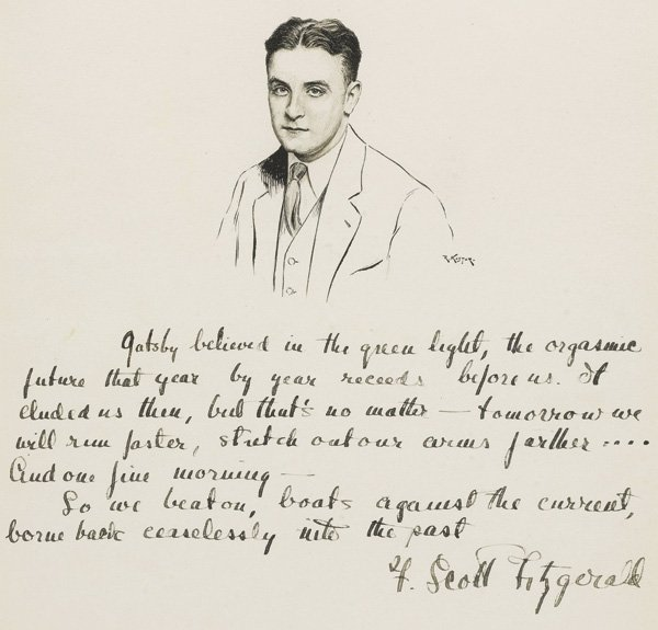 This pen-and-ink portrait of F. Scott Fitzgerald by Robert Kastor, with final two paragraphs of The Great Gatsby, sold for $98,000.