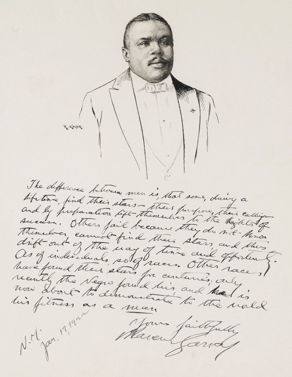 A dealer bought this pen-and-ink portrait of Marcus Garvey by Robert Kastor for $1250. It sold at a later auction for $31,200.