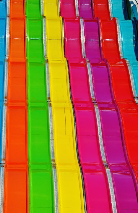 Colorful slides at the San Diego Fair.