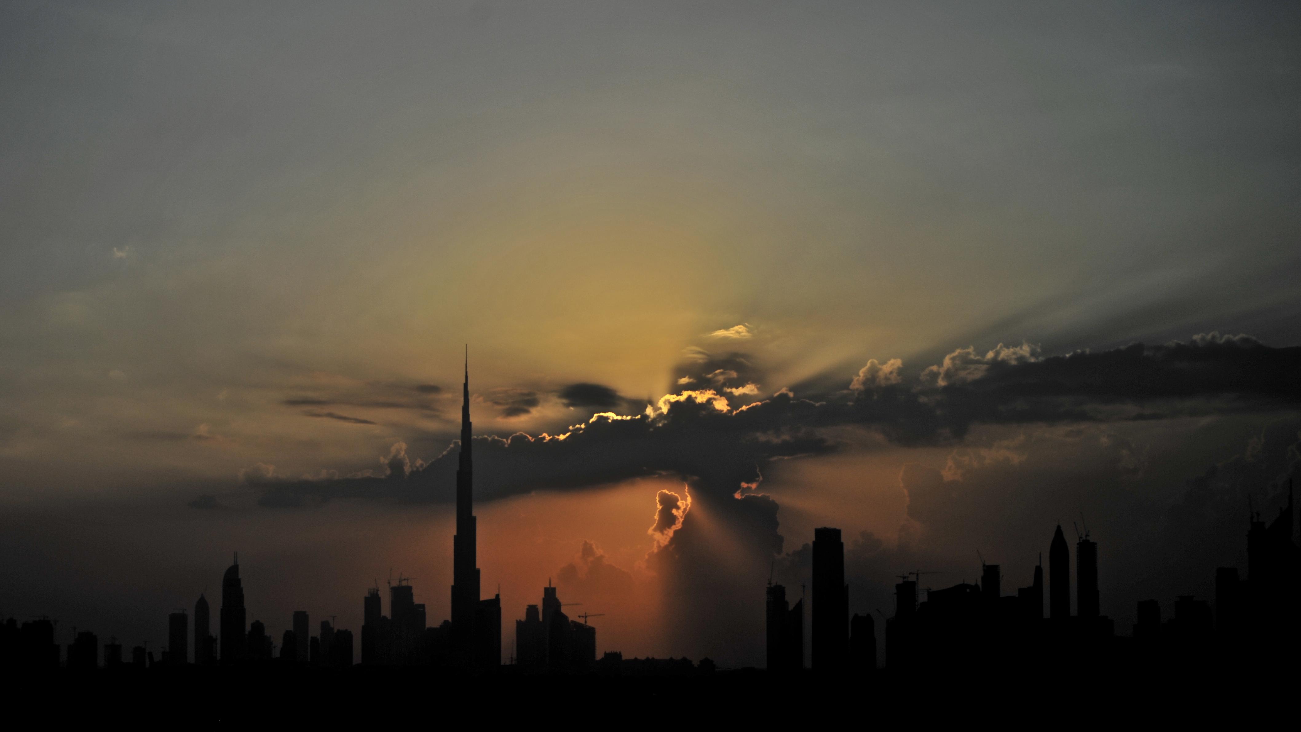 Dubai panorama before sunset