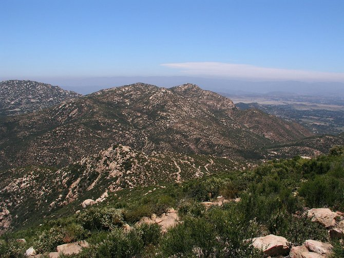 View towards Ramona from the top of Iron Mountain.  Poway, California.  June, 2011