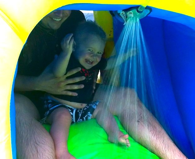 My nephew Joshua, about to go down the slide.