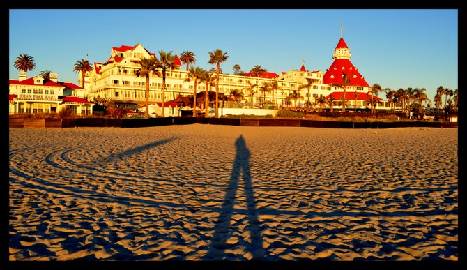 While taking a photo of beautiful Hotel Del, my shadow refused to get out the way...