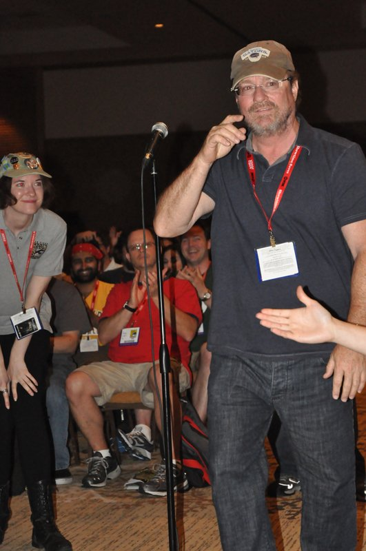 Stephen Root makes a surprise entrance by asking a fan question