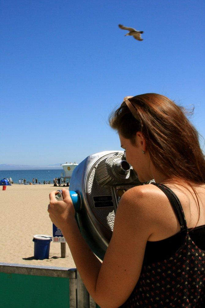 View from the boardwalk! The very busy beach of Santa Cruz!
