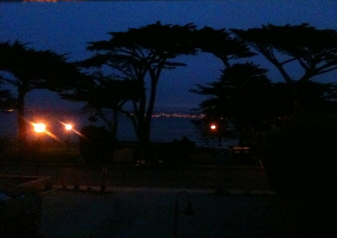 Evening at Lover's Point: View from my window, Borg's Seafront Motel, Pacific Grove, CA