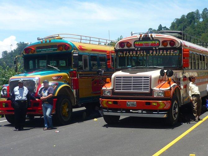 Buses In Xela, Guatamala.