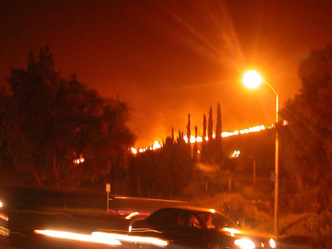 Taken during the Cedar Fire.  I was driving north on Cuyamaca,  after turning off of Mast Blvd.