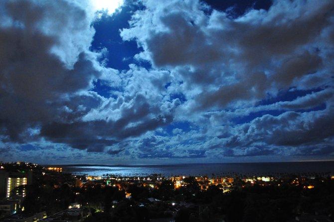 Full moon over La Jolla Cove 3:30AM (The cat woke me up. Said he needed food)