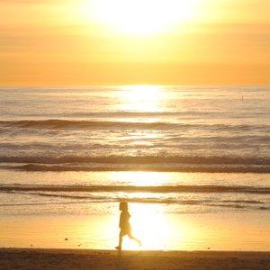 A walk in the setting sun on Moonlight Beach, Encinitas. Jan 2011