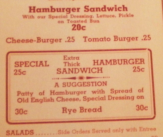 Original menu from opening year, 1938
