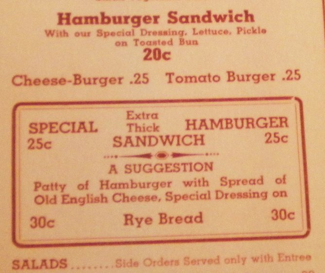 Original menu from opening year, 1938