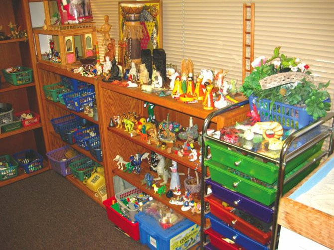 Leslie Fadem has dedicated an entire room to sandplay, with countless items that she began collecting in 1991.
