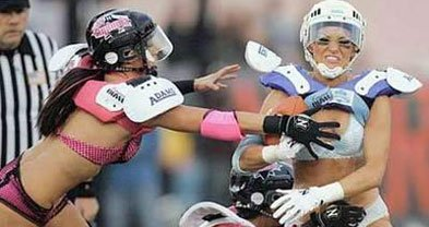 The Lingerie Football League — beautiful women in panties and bras playing tackle football