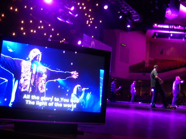 Worship music before service at The Rock Church.