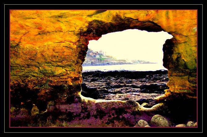 La Jolla Shores looking through an cavernous opening toward the cove...